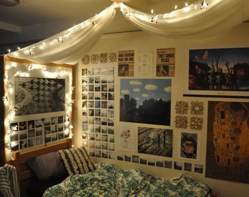 Love all of this: lights, draping, photos. And look it's exactly like our dorm beds and dressers from last year!