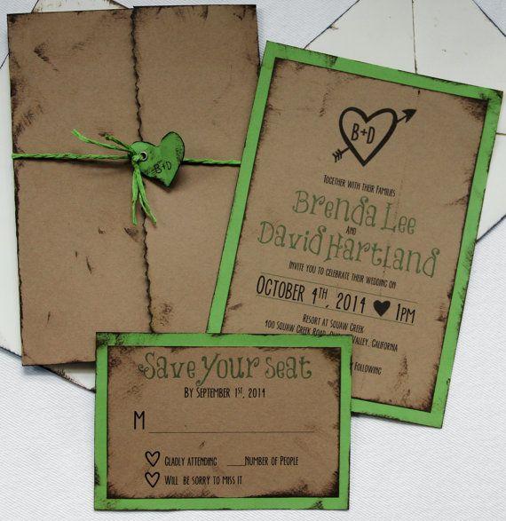 Rustic Backyard Wedding Invitations : Handmade Wedding Invitation, Rustic, Outdoor, Invite, RSVP, Envelopes