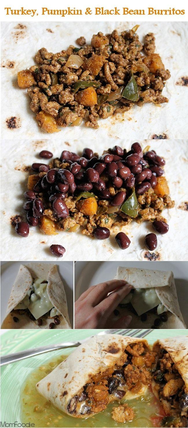 Ground Turkey, Pumpkin and Black Bean Burritos - Mom Foodie