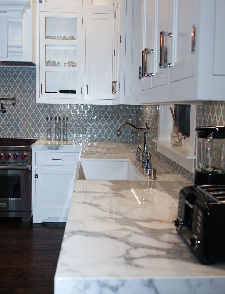 bluish grayish moroccan style tiles for the backsplash with calcutta