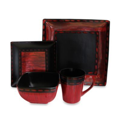 American atelier livingston 16 piece dinnerware set in red - Black and red dinnerware sets ...