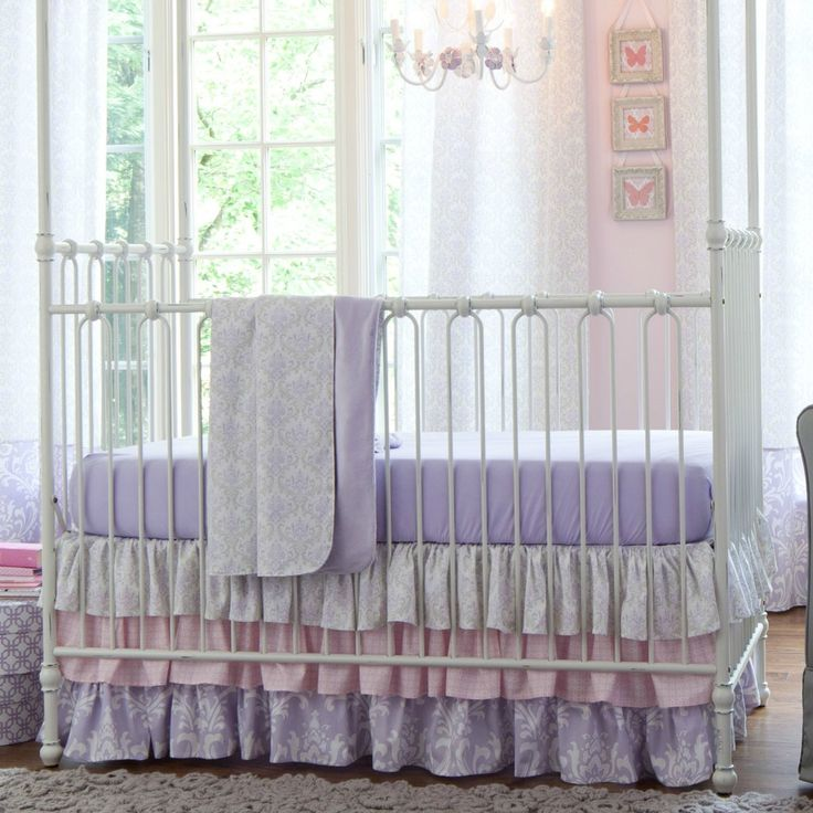 Lilac and silver gray damask crib bedding from carousel designs