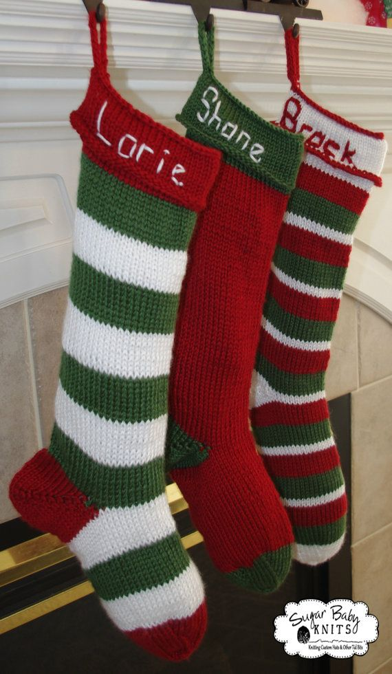 Knitted Christmas Stocking Patterns Personalized : PATTERN - Knit Personalized Christmas Stocking - KNIT