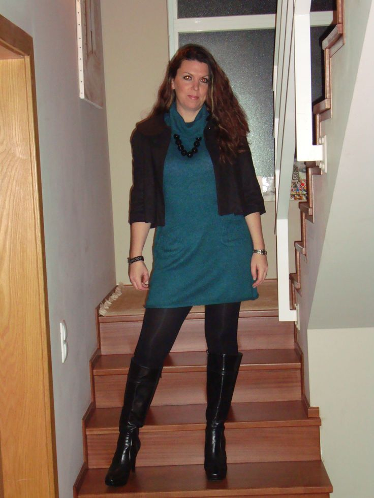 short dress with knee high boots