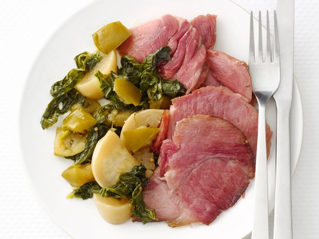 Slow-Cooker Ham with Turnips #FNMag #myplate #protein #veggies