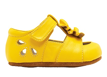 gorgeous yellow toddler shoes with ruffles from see kai run