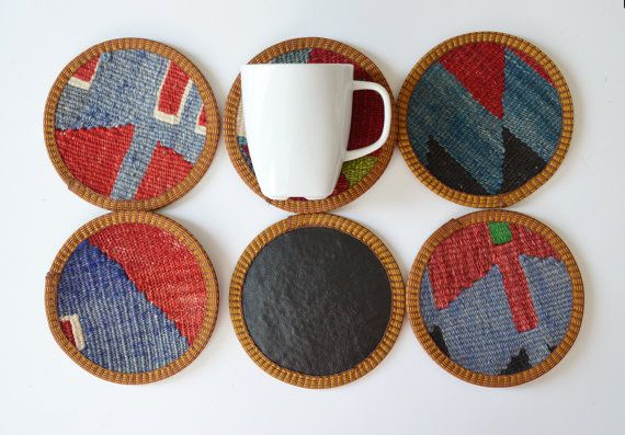 Sukan / Hand Woven Turkish Antique Kilim Cups Coasters - 6 pcs - red, blue, yellow, ivory, black, green