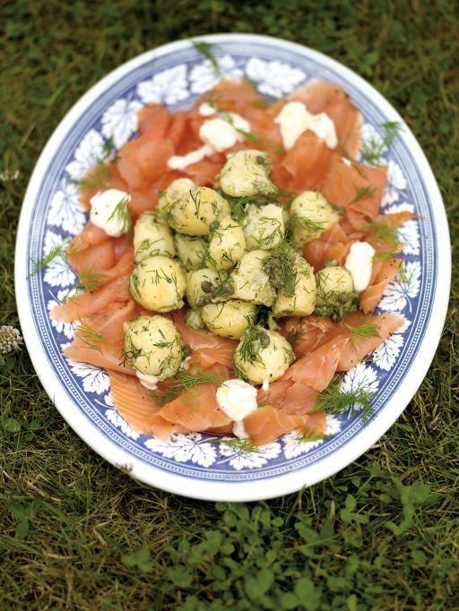 potato salad with smoked salmon & horseradish crème fraiche | Jamie ...