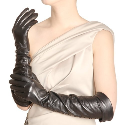 Black leather gloves buttons - Opera Long Luxury Soft Nappa Leather Gloves With Buttons S Black