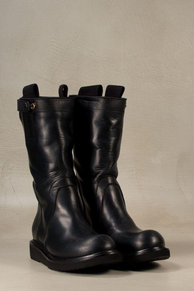 Rick Owens Geobiker Black Leather Men Women Mid-calf Flat ...