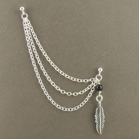 Cartilage chain earring sterling silver 925