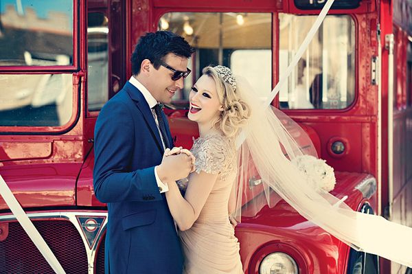 Pale pink wedding dress red lipstick and shades of yellow for a