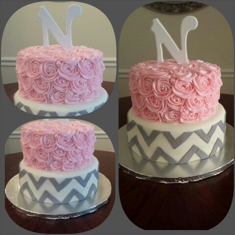 pink rossette and grey chevron baby shower cake