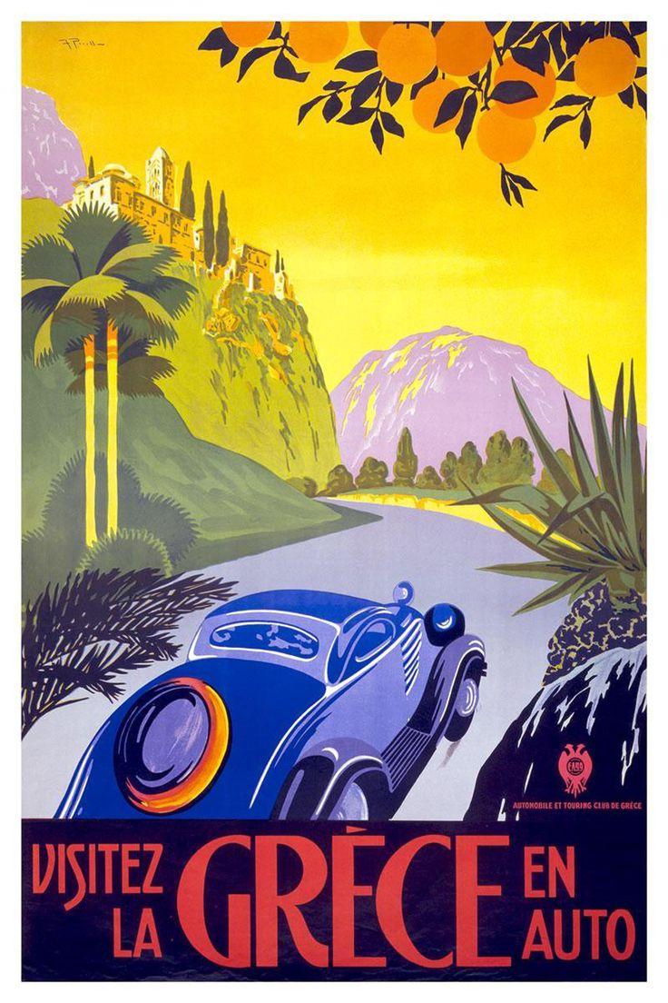 Framed vintage travel poster