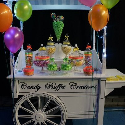 The Neon candy Cart supplied by Candy Buffet Creations