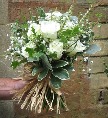 Image detail for -... bouquet Handtied white country bouquet Bridesmaid white rose basket