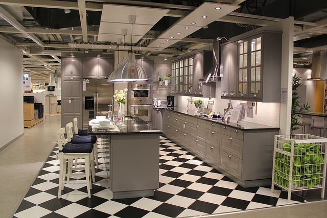 Love grey cupboards & check floor! Lidingo grey @ IKEA  Flickr