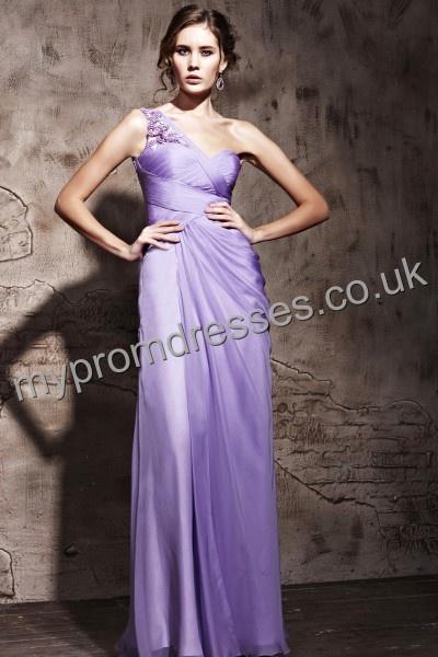 Floor length One-shoulder Purple Satin A-line Evening Dress Genoa