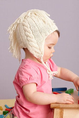 Cabled Fringe Hat - 9-12 months, 2-3 years, 4-5 years