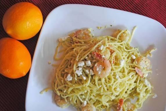 Meyer Lemen pesto with shrimp and feta | food ideas | Pinterest