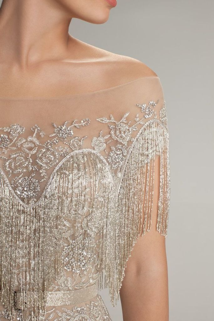 Beaded wedding gown very great gatsby dress me up for Wedding dress trim beading