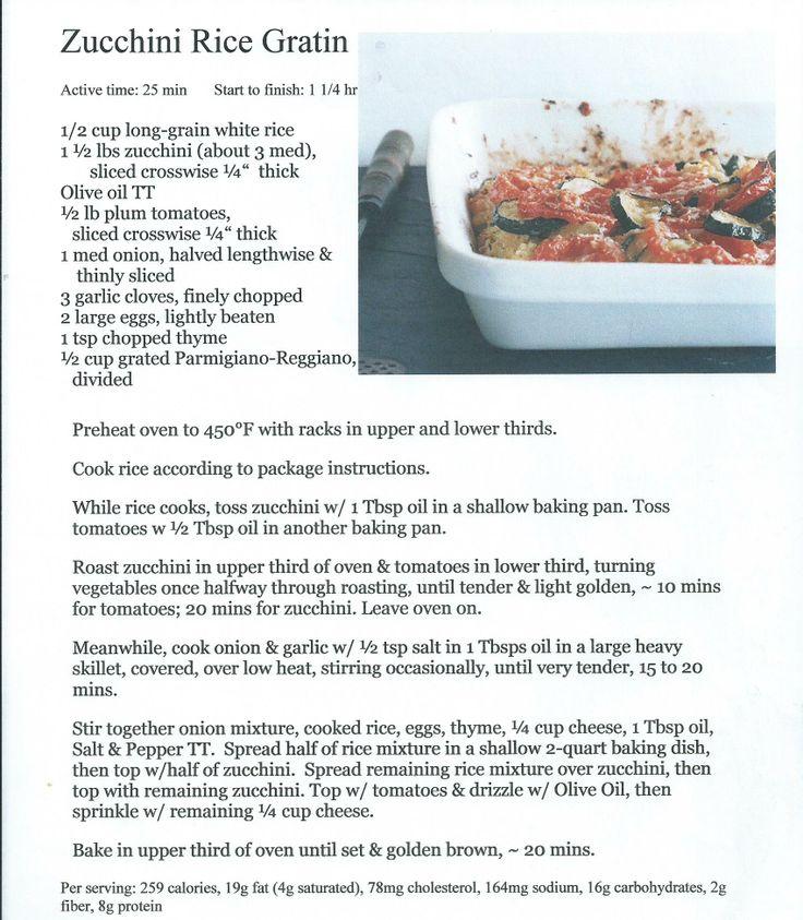 Zucchini Rice Gratin (B) (EDZ) | Casseroles, Gratins & Lasagnas | Pin ...