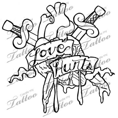love hurts tattoo drawings sketch coloring page. Black Bedroom Furniture Sets. Home Design Ideas