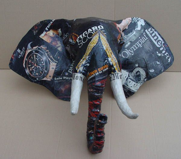 Very cool paper mache elephant craft art ideas for Cool paper mache