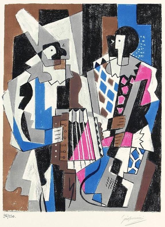 """""""Les Arlequins"""" des italienischen Künstlers Gino Severeini, 1883-1966, aus dem Jahre 1954. Sein Werk schwankt zwischen Futurismus,  Divisionismus, Neo-Klassizismus, Kubismus... Stichworte: #Accordion #Art #Painting"""