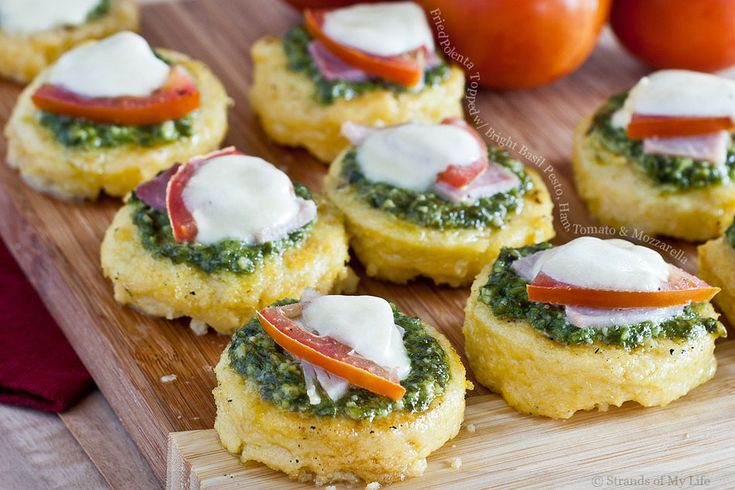 Fried Polenta Topped with Bright Basil Pesto, Ham, Tomato and ...