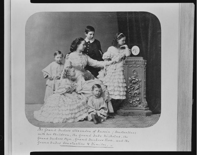 Alexandra Josefovna, Grand Duchess Constantine of Russia, and her children (1863)