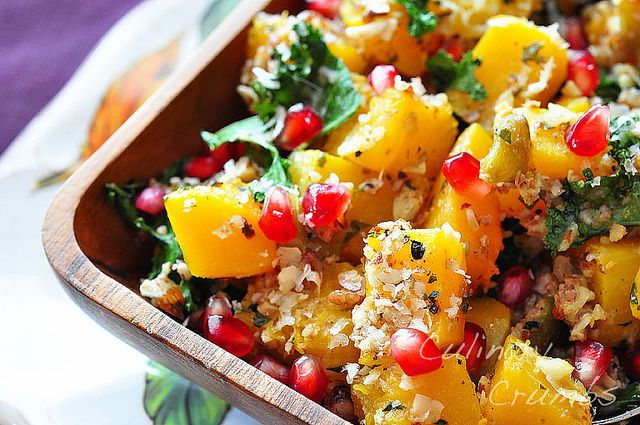 Roasted Butternut Squash with Kale, Pomegranate, Pecans, Parmesan and ...