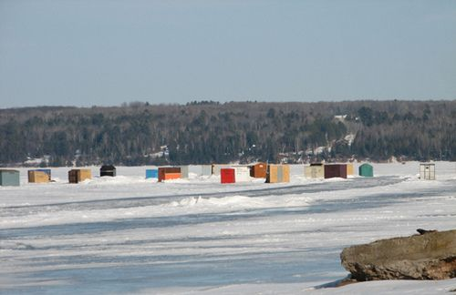 Keweenaw Bay, Michigan ice fishing village on Lake Superior.