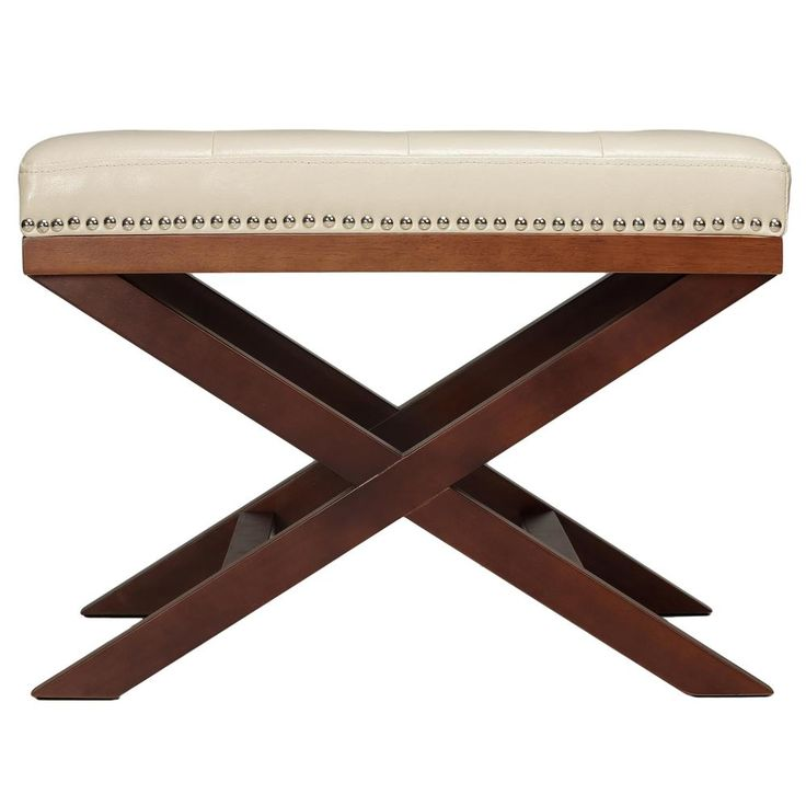 and walnut traditional x leg bench ottoman