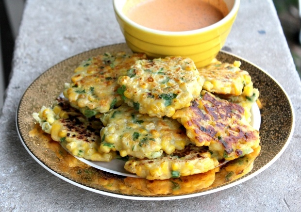 Corn Fritters with Roasted Red Pepper Feta Sauce