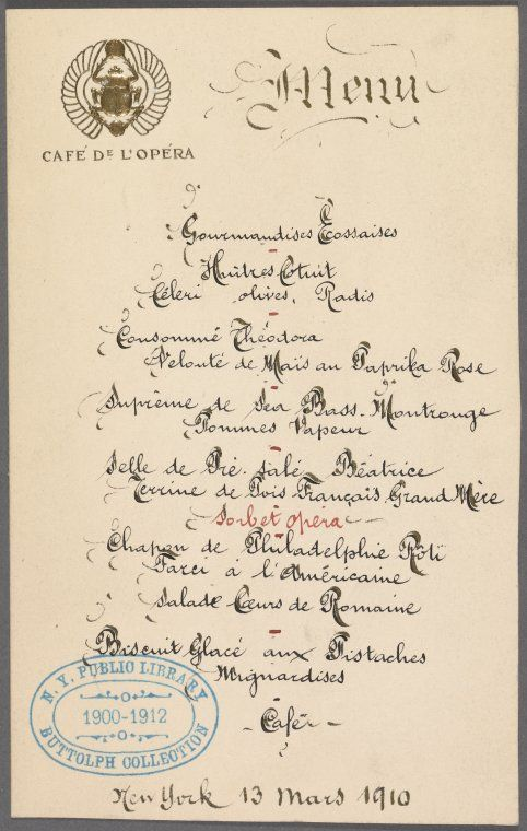 ... French menu. Would be beautiful framed in a kitchen. I LOVE old menus