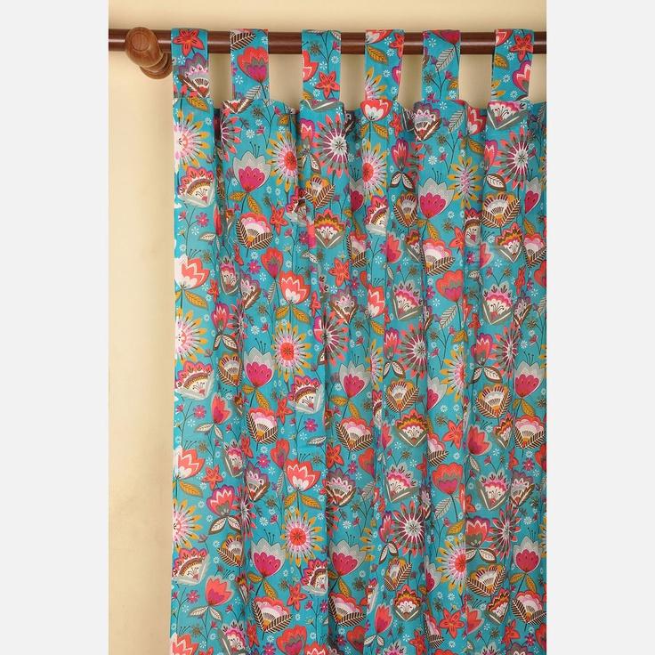 Whimsical Cotton Curtain Aqua