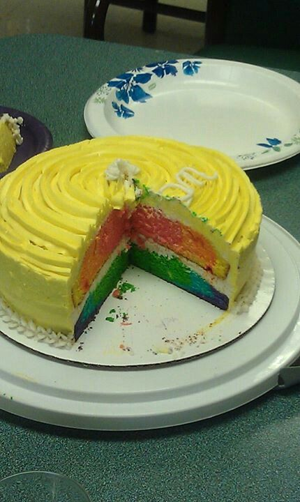 Rainbow cake with sunshine frosting | #Bake Me A Cake As Fast As You ...