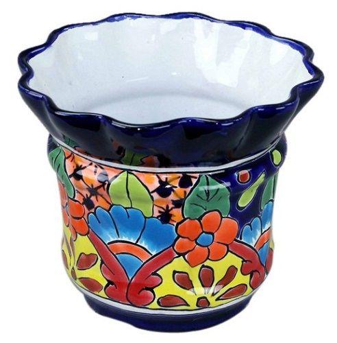 Talavera fancy rim flower pot mexican talavera pottery for Fancy flower pots