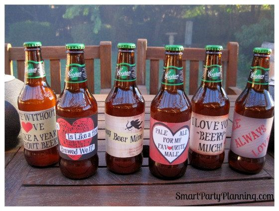 valentine's day beer bottle labels