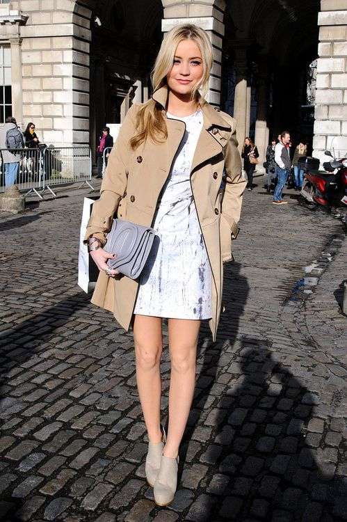 Love a great trench and summer dress combo