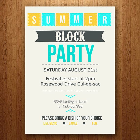 Customizable summer party invitation block pool bbq etc for Block party template flyers free