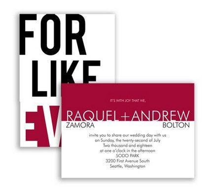 For Like, Ever Wedding Invitation in Apple by David's Bridal #redweddings #weddinginvitation