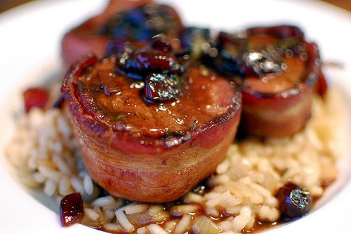 Bacon Wrapped Pork Medallions with Cherry Sauce