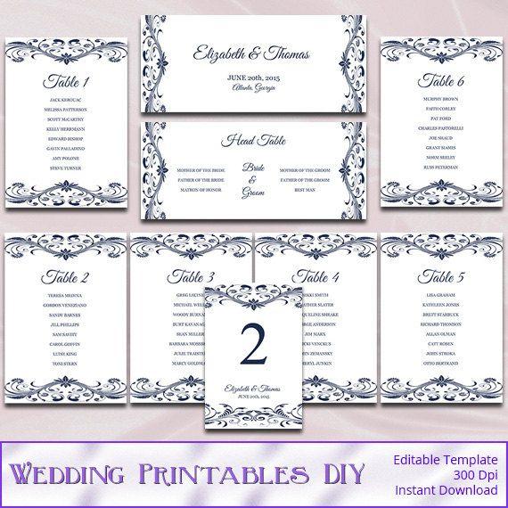 Wedding seating chart template diy printable navy blue reception se