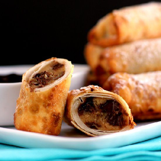 Peanut Butter Chocolate Chip Cookie Dough Egg Rolls with Chocolate ...