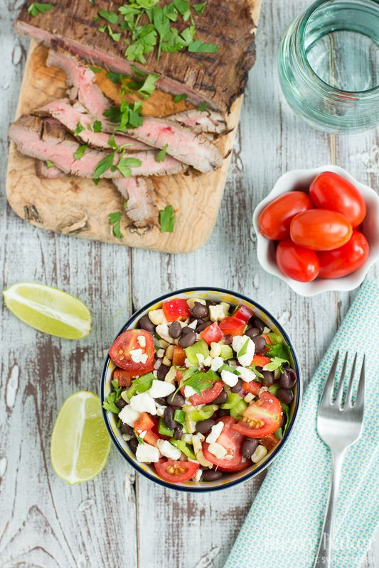 Grilled Corn & Black Bean Salad with Mesquite Flank Steak | www ...