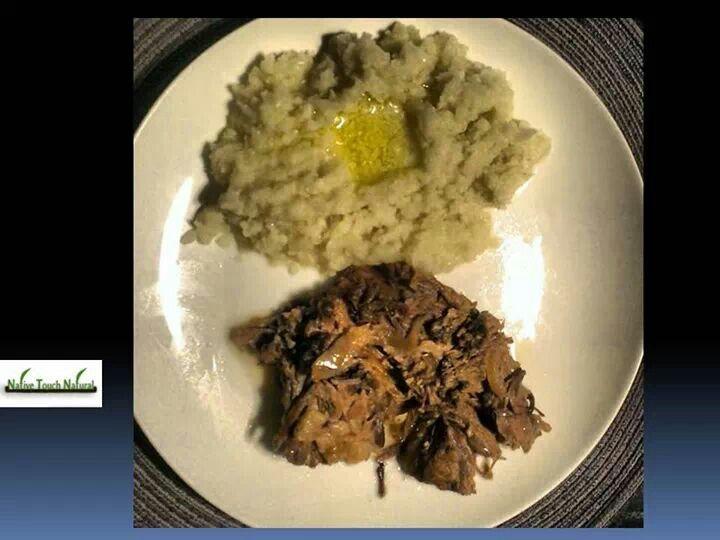 Slow roasted grass-fed beef brisket and cauliflower mash.