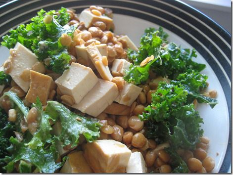tofu lentil kale w/ soy sauce tahini sauce