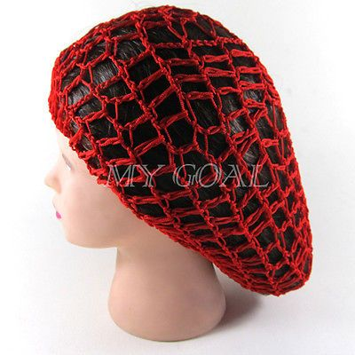 Crochet Hair Net : Soft Rayon Snood Hair Net Crochet Hairnet Knit Knitted Hat Cap Hairba ...